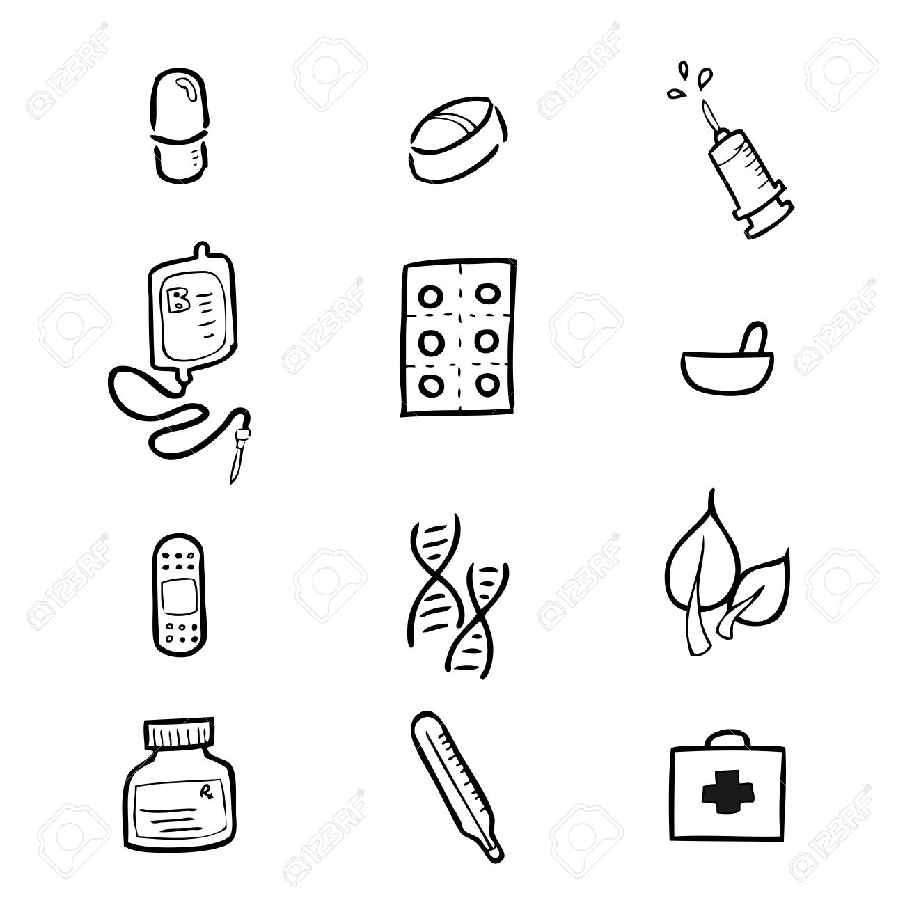 1300x1300 Drug Hospital Drawing Icons Set Cartoon Royalty Free Cliparts