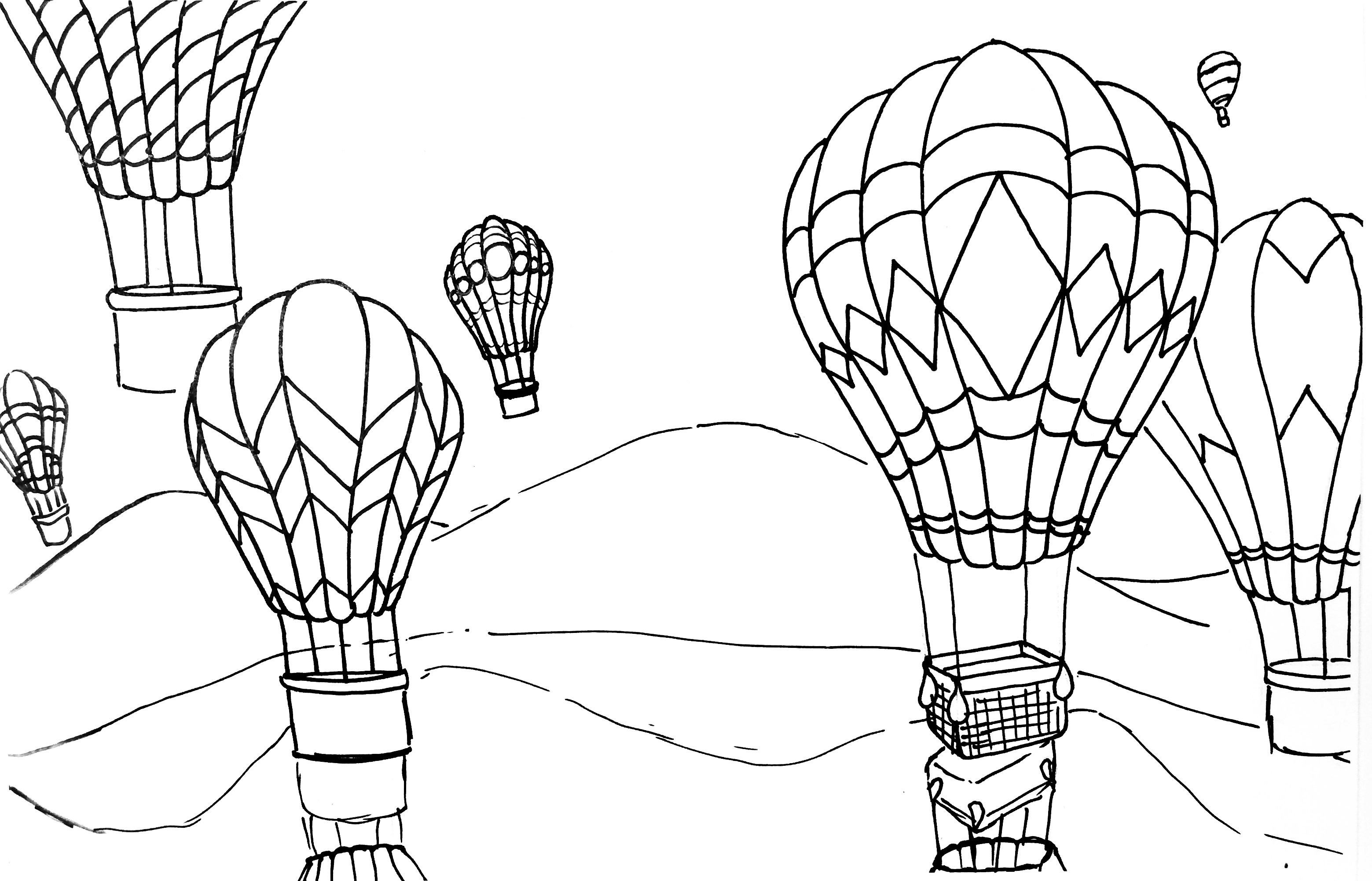 3118x2003 Hot Air Balloon Rhythm, Pattern Amp Variety Watercolor Pencil
