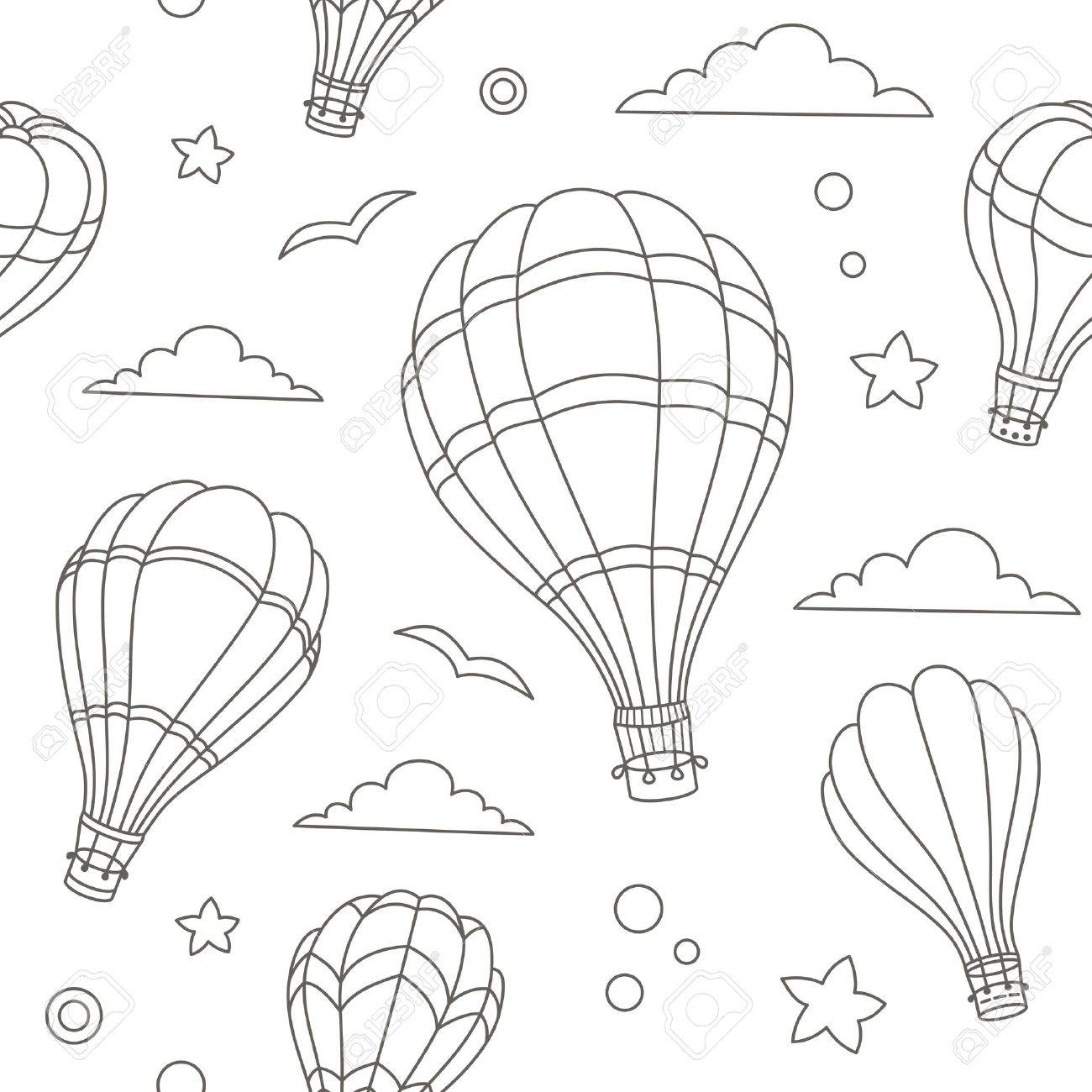 1300x1300 Seamless Pattern Of Colorful Hot Air Balloons On The Blue Sky