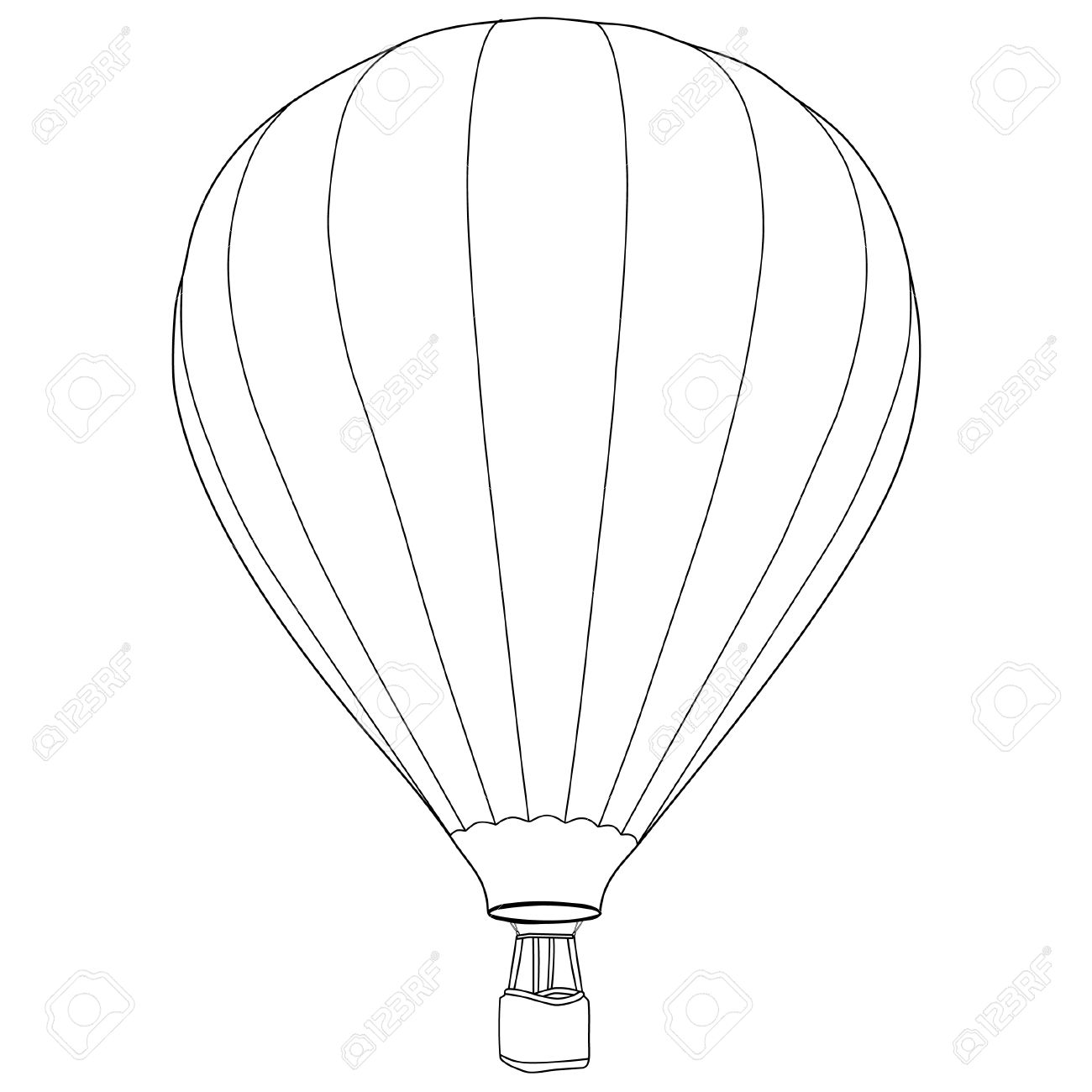 1300x1300 Vintage Hot Air Balloon With Basket Vector Icon Isolated, Summer