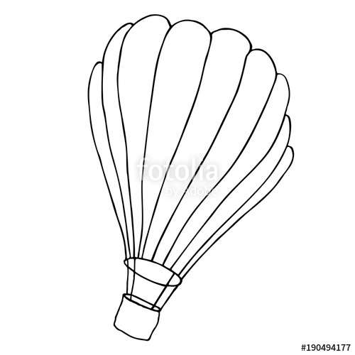500x500 Hot Air Balloon With A Basket. Vector Sketch Illustration. Stock