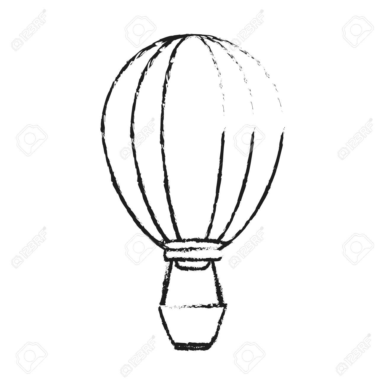 1300x1300 Black Blurred Silhouette Cartoon Hot Air Balloon With Basket