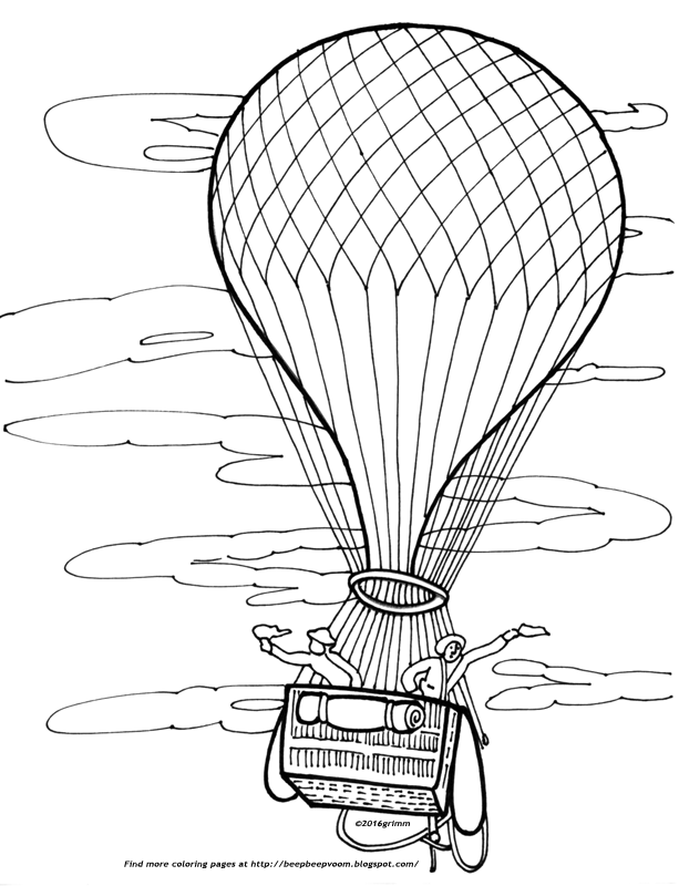 613x800 Color This Old Fashioned Hot Air Balloon Beep Beep Voom!