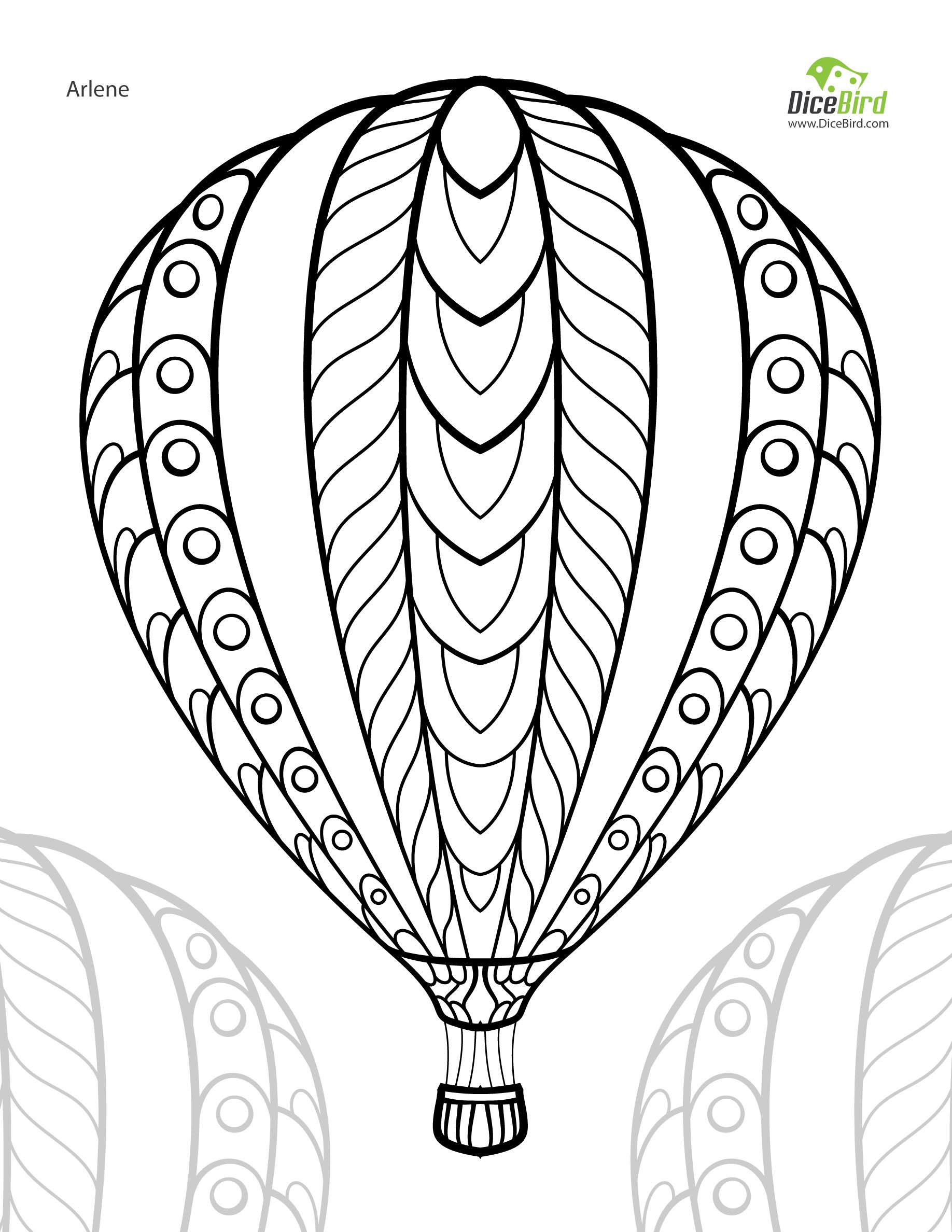 1836x2376 Hot Air Balloon Adult Free Printable Colouring Page