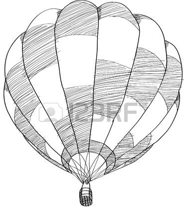 369x450 Retro Hand Drawing Hot Air Balloon. Vintage Hot Air Airship Vector