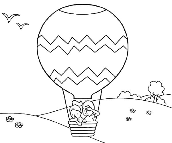 Hot Air Balloon Line Drawing