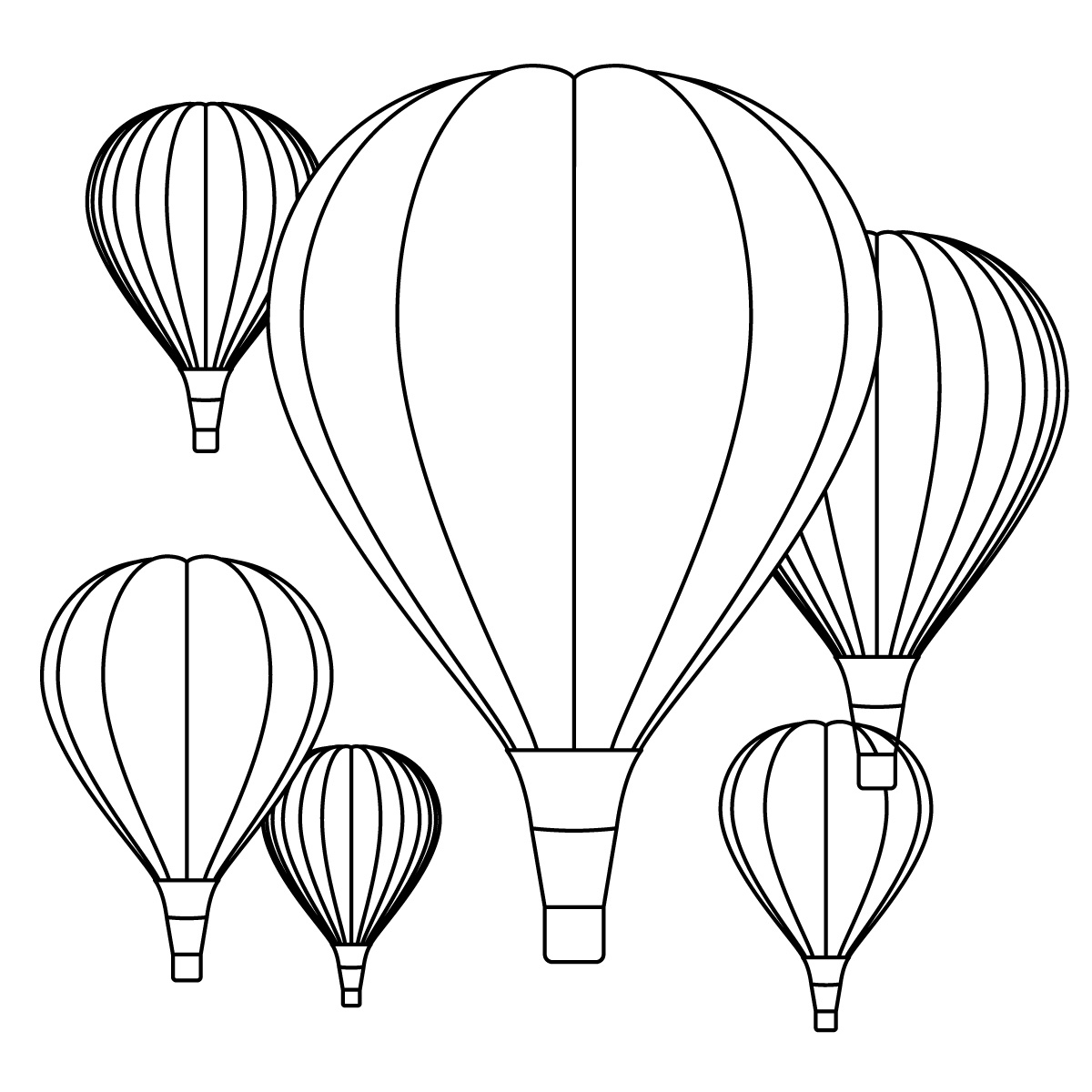 1200x1200 Drawing Of Hot Air Balloon Hot Air Balloon Clipart Line Drawing