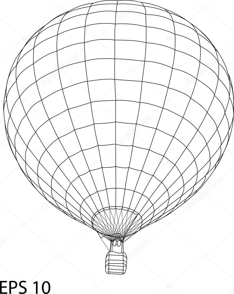 815x1023 Hot Air Balloon Vector Sketch Up Line, Eps 10. Stock Vector