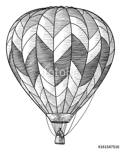 402x500 Hot Air Balloon Illustration, Drawing, Engraving, Ink, Line Art
