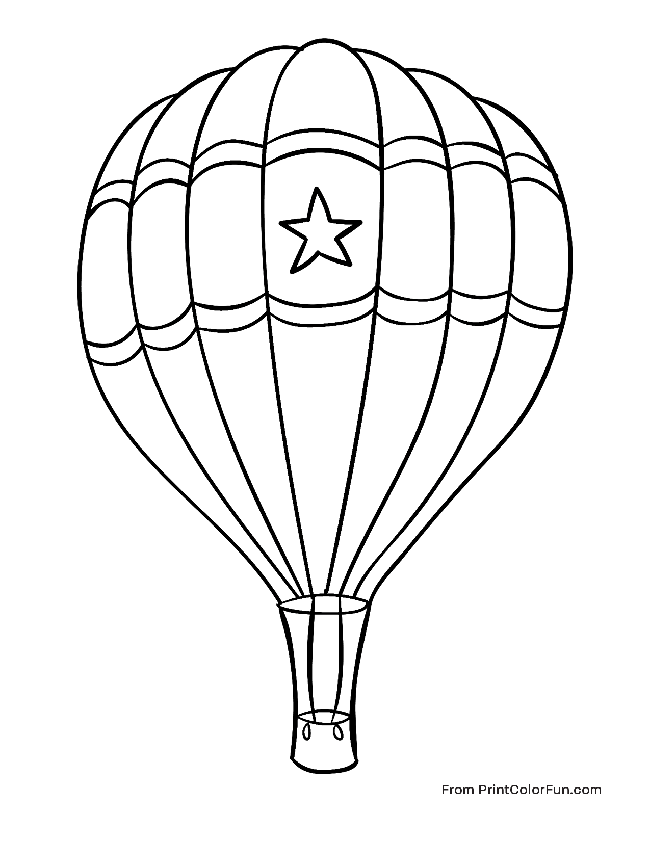 1275x1650 Hot Air Balloon With A Star Coloring Page