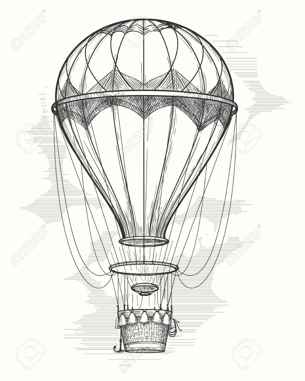 1040x1300 Retro Hand Drawing Hot Air Balloon. Vintage Hot Air Airship Vector