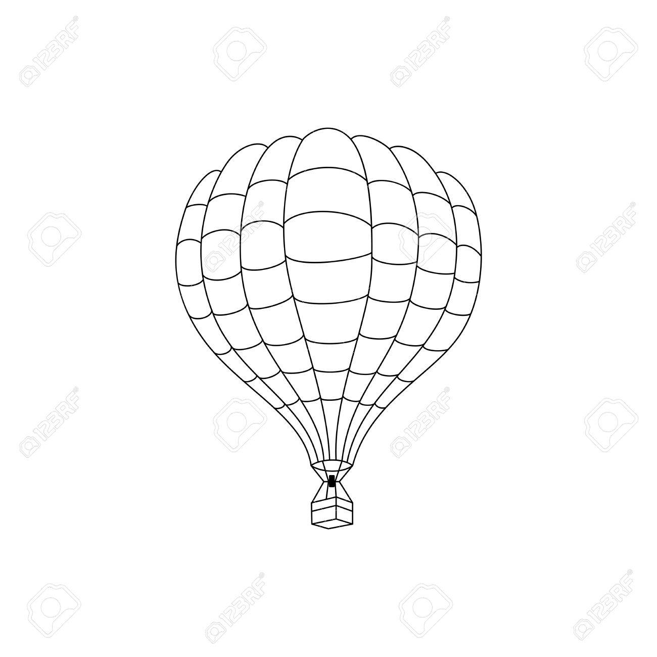 1300x1300 Vector Hot Air Balloon Outline Drawn. Royalty Free Cliparts