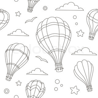 320x320 Vector Illustration Of Colorful Hot Air Balloons On The Blue Sky