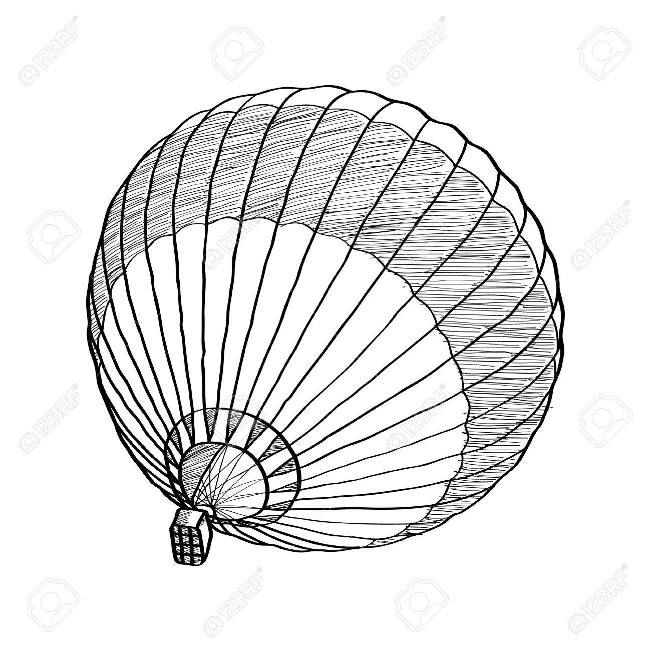 1300x1300 Doodle Of Hot Air Balloon Vector Sketch Up Line Royalty Free