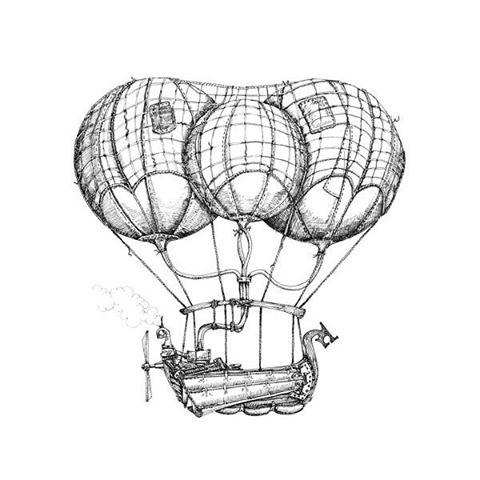 480x480 Drawn Hot Air Balloon Steampunk