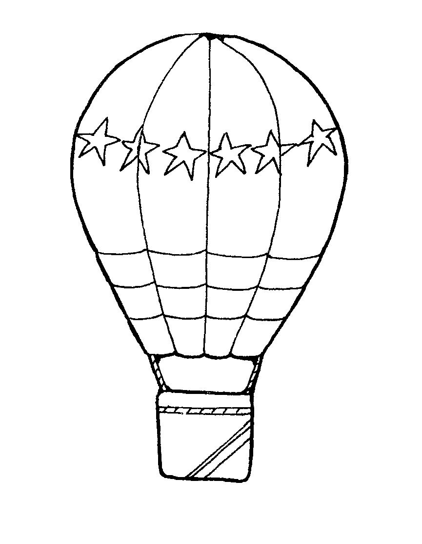 865x1113 Free Hot Air Balloon Clipart Black And White