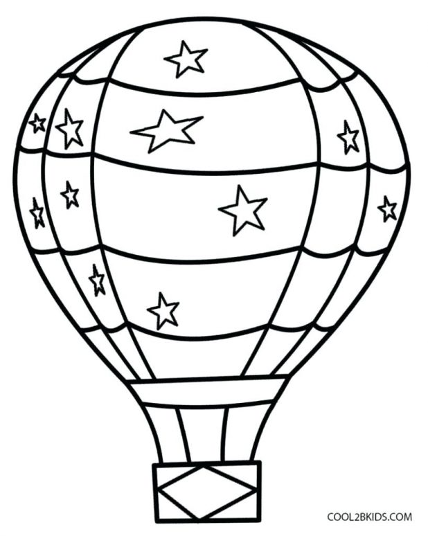 618x774 Balloon Hot Air Outline Clipart Drawing Template Hot Air Balloon
