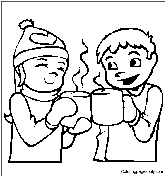 567x604 Hot Chocolate Coloring Page