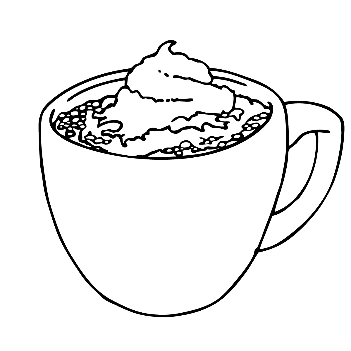 1200x1200 Coloring Pages Hot Chocolate Page Mug Throughout