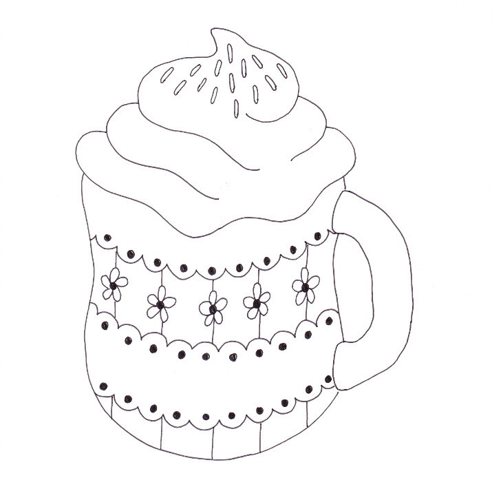 715x697 Cup Of Cocoa Coloring Page