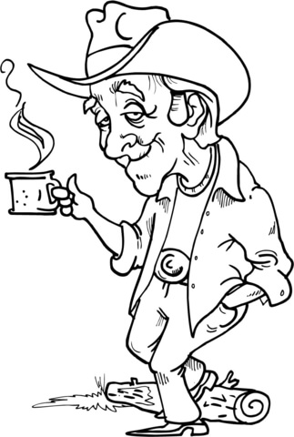 323x480 Cowboy Having A Hot Cup Of Coffee Coloring Page Free Printable