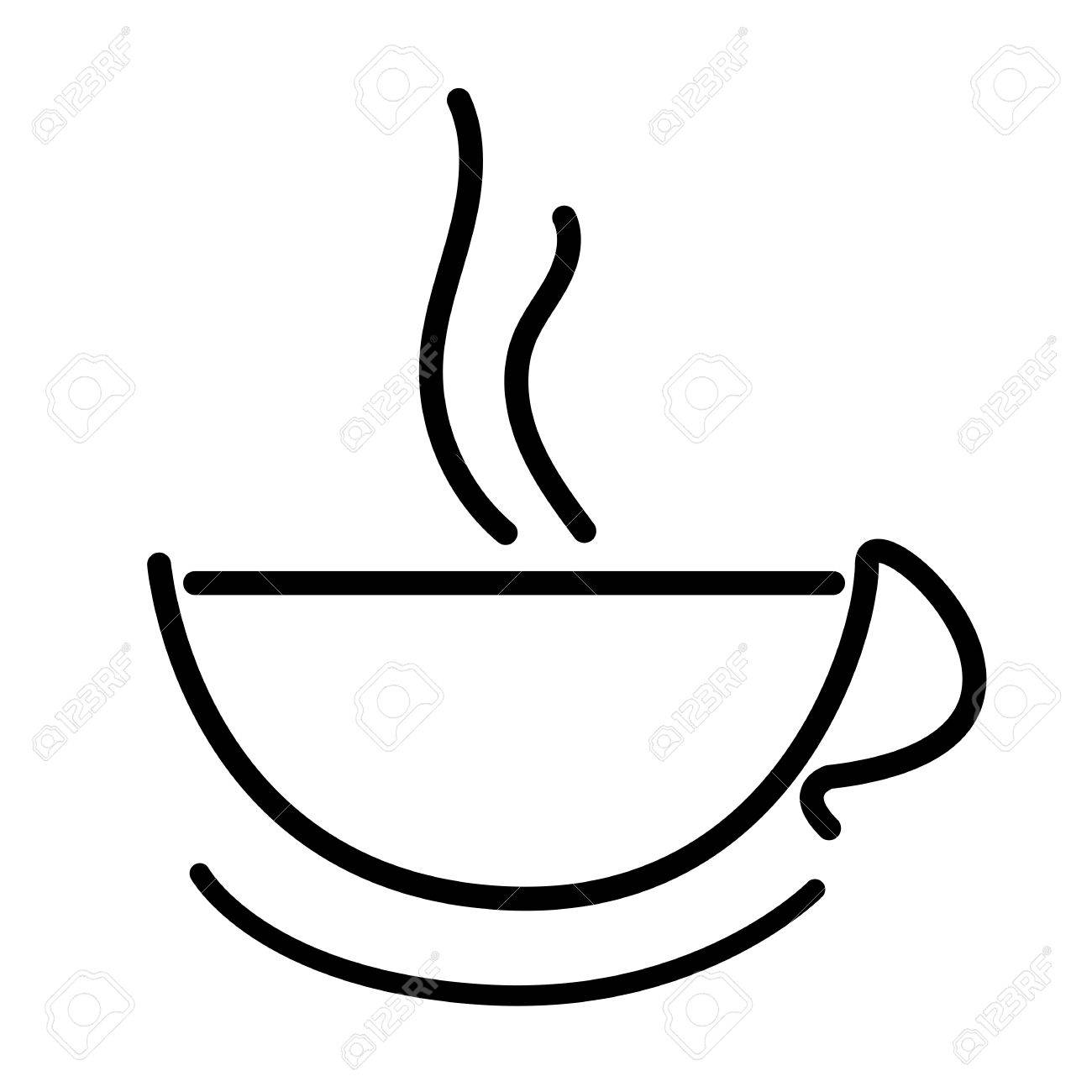 1300x1300 Hot Coffee Cup Icon Outline Drawing Royalty Free Cliparts, Vectors