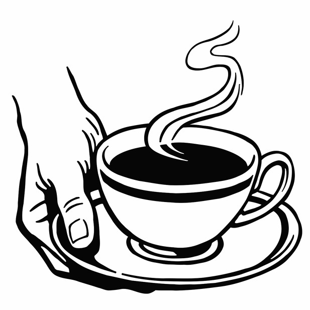 617x617 Hot Cup Of Coffee Printable Image Illustration Sketch For Hot Cup