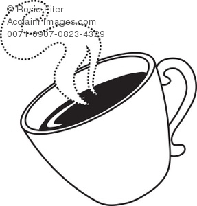 287x300 Art Illustration Of The Outline Of A Cup Of Hot Coffee