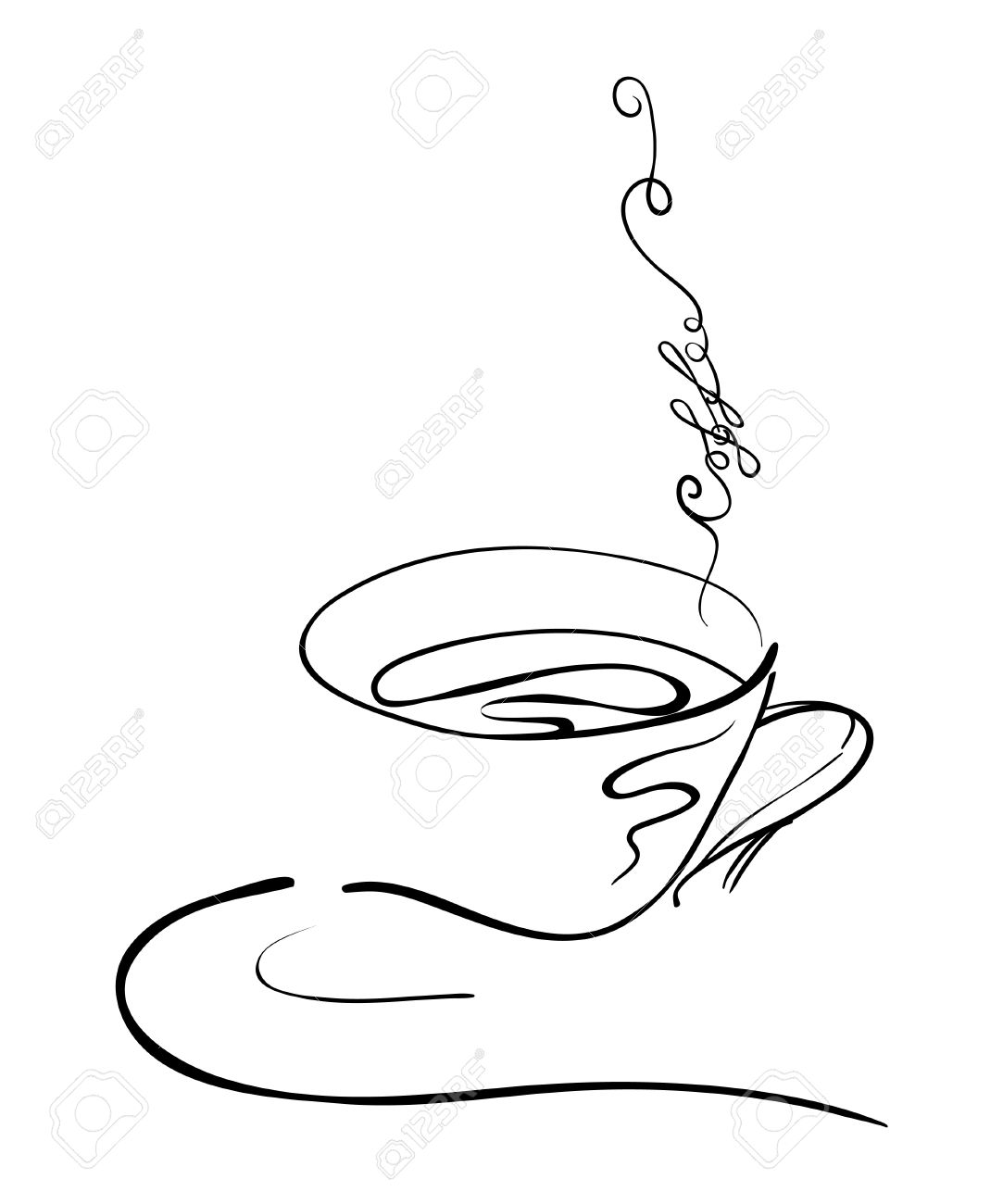 1083x1300 Illustration Hand Drawing Of A Hot Coffee Cup On A Saucer
