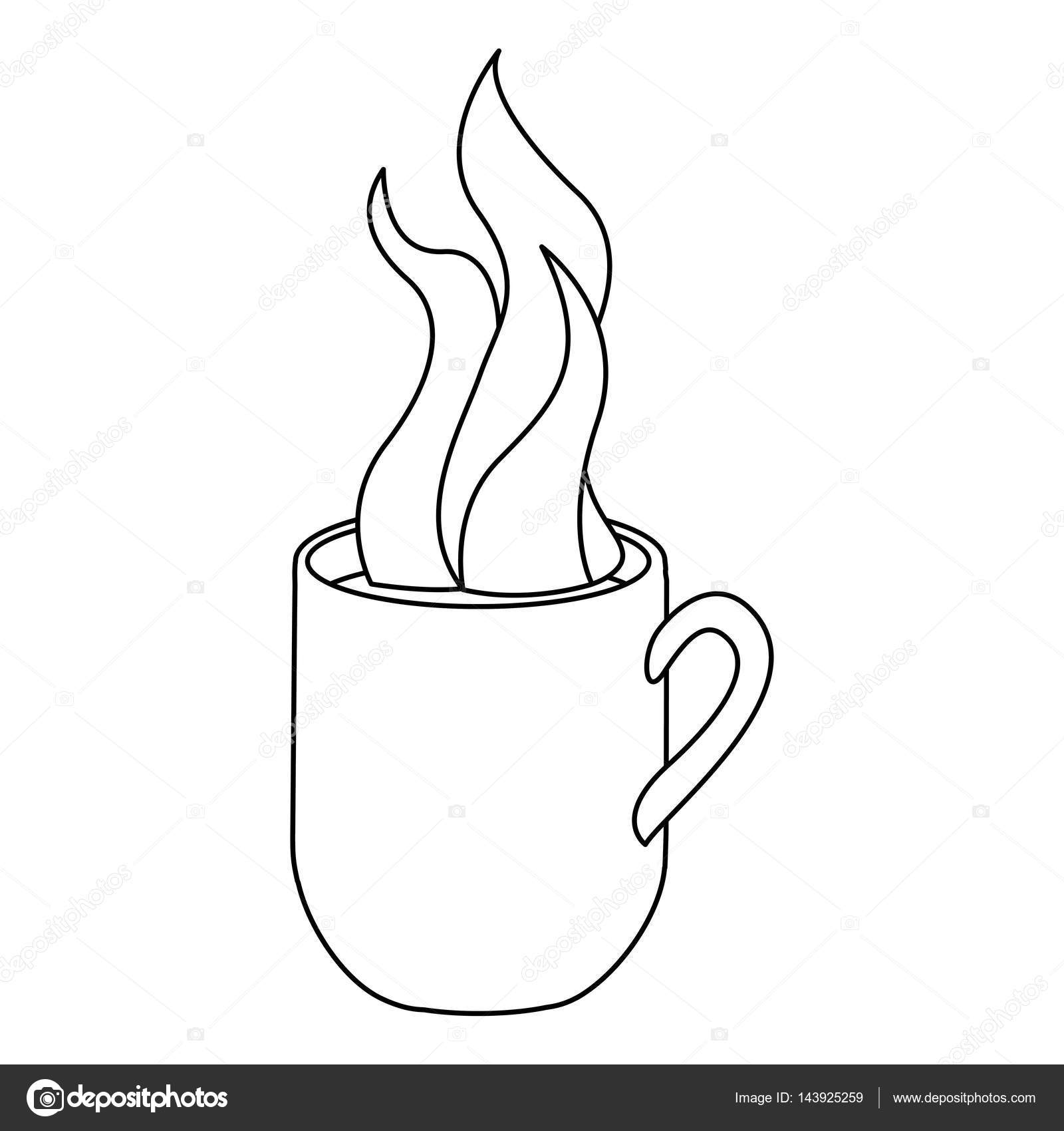 1600x1700 Monochrome Contour With Hot Mug Of Coffee Close Up Stock Vector