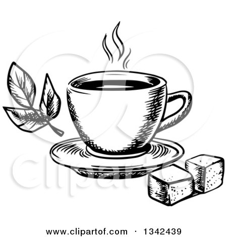 450x470 Clipart Of A Black White Sketched Hot Tea Cup, Sugar Cubes