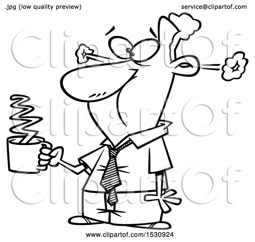 1080x1024 Clipart Of A Cartoon Outline Business Man Steaming After Drinkng