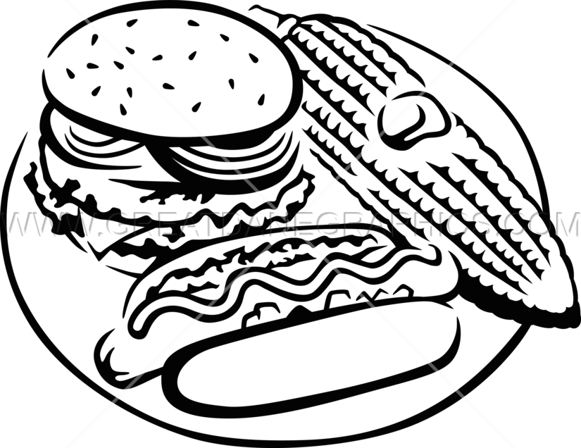 825x636 Burger Hotdog Corn Production Ready Artwork For T Shirt Printing