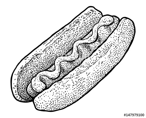 500x405 Hot Dog Illustration, Drawing, Engraving, Ink, Line Art, Vector