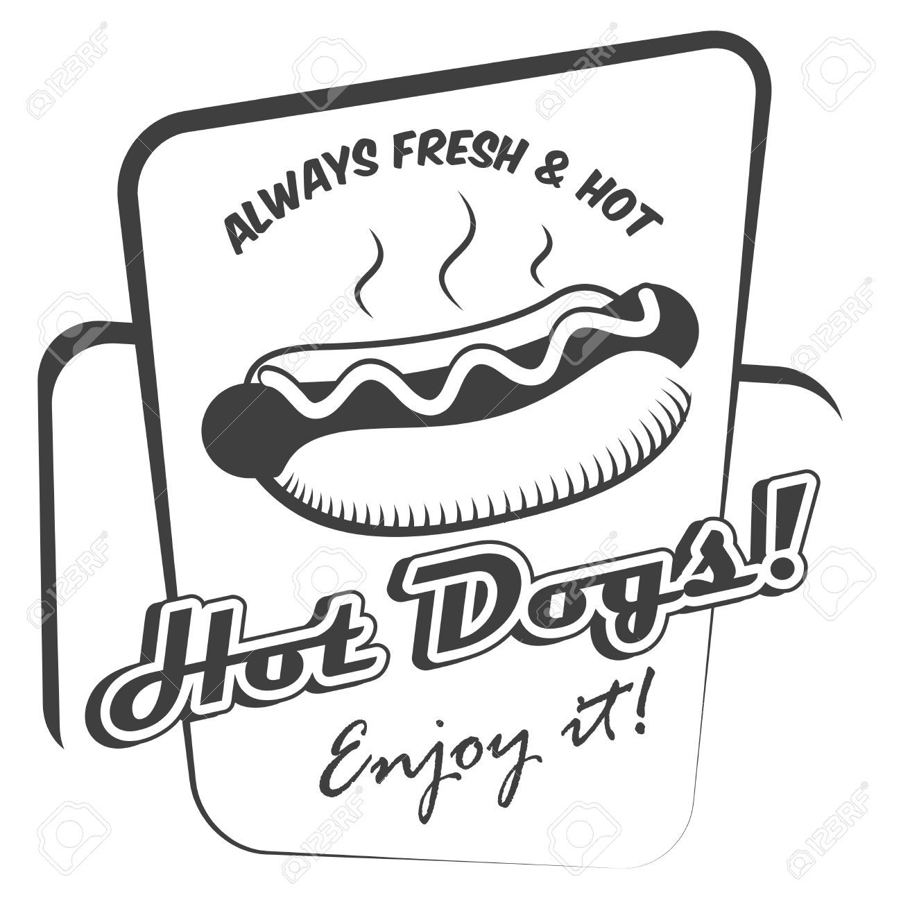 1299x1300 Drawing Hot Dog Fresh Fast Food Enjoy Black And White Poster