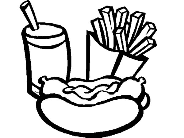 600x450 Eat Hot Dog And Fries With Soda Coloring Page Coloring Sky
