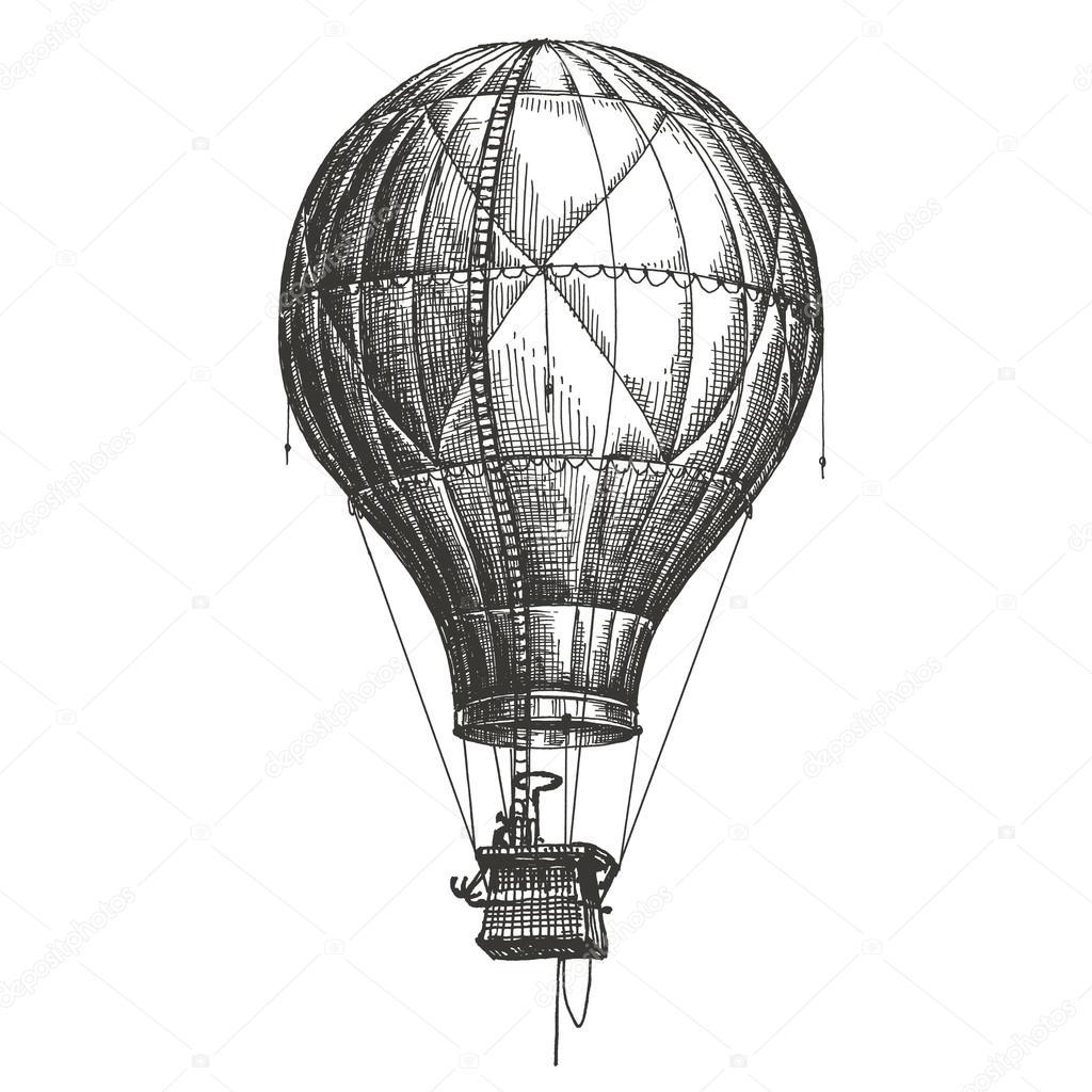 1024x1024 Hot Air Balloon Vector Logo Design Template. Retro Airship