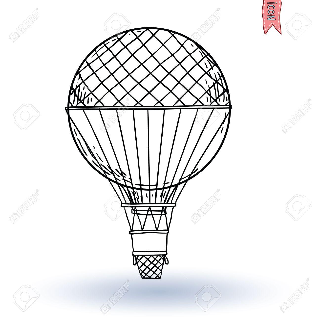 1287x1300 Steampunk Vintage Hot Air Balloon, Hand Drawn Vector Illustration