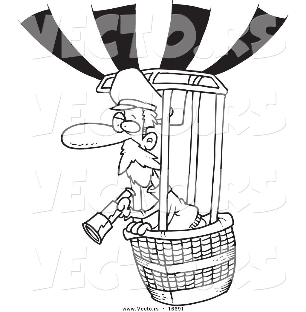 1024x1044 Vector Of A Cartoon Balloonist Using A Telescope