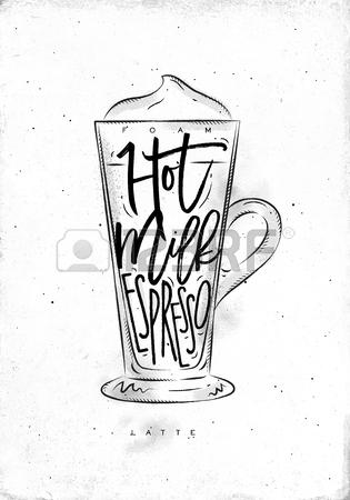 315x450 Coffee Latte Cup Lettering Foam, Hot Milk, Espresso In Vintage