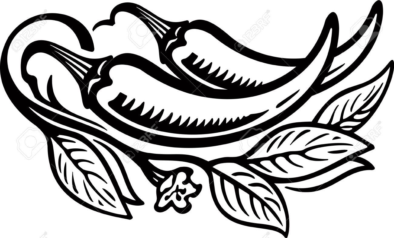 1300x786 Hot Pepper Clipart Black And White