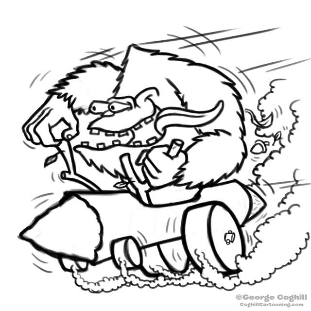 640x640 Bigfoot Log Hot Rod Cartoon Rough Sketch
