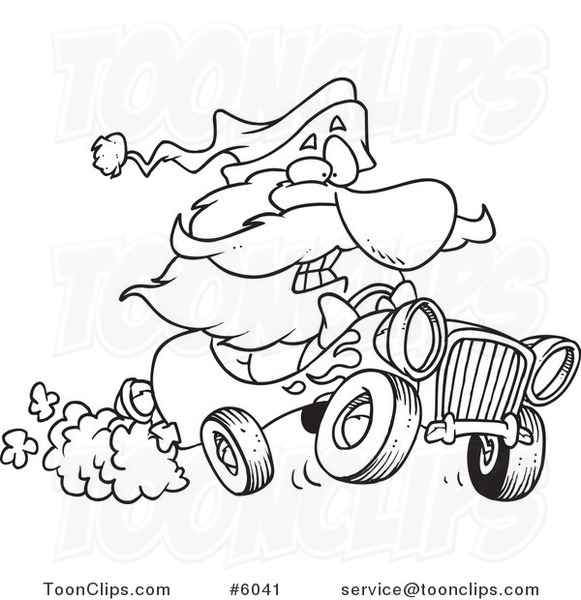 581x600 Cartoon Black And White Line Drawing Of Santa Driving A Hot Rod
