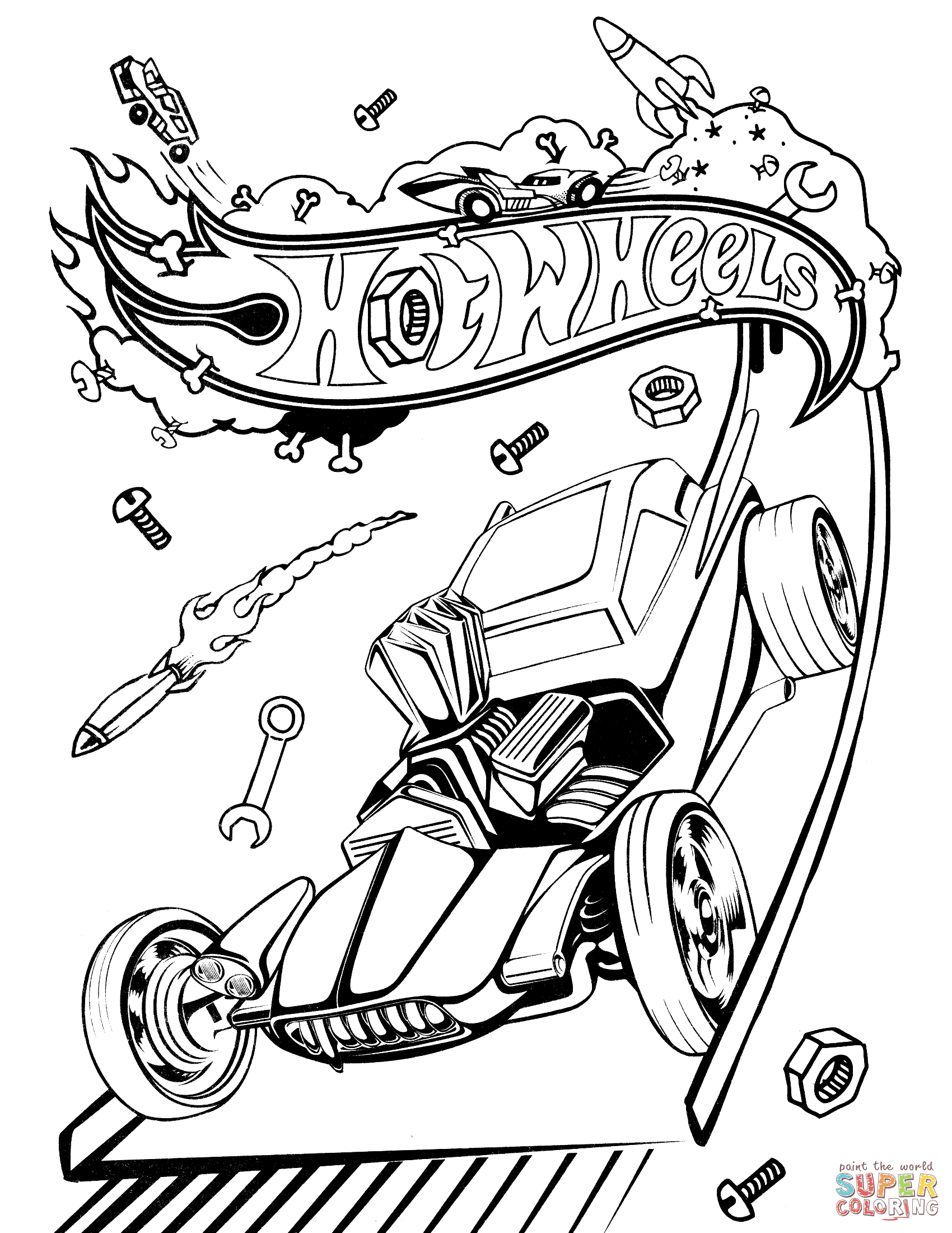 1700x2200 Hot Rod Coloring Pages
