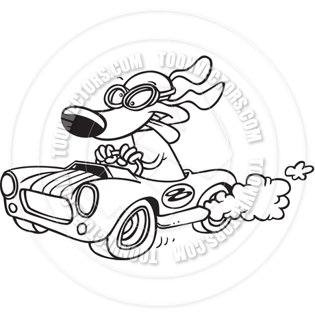 460x460 Cartoon Hot Rod Dog (Black And White Line Art) By Ron Leishman