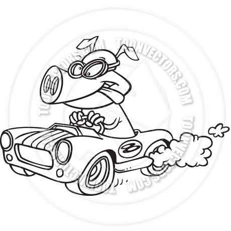 460x460 Cartoon Hot Rod Hog (Black And White Line Art) By Ron Leishman