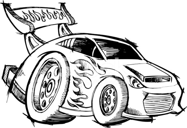 627x430 Hot Rod Race Car Coloring Page To Enhance The Development Of Motor