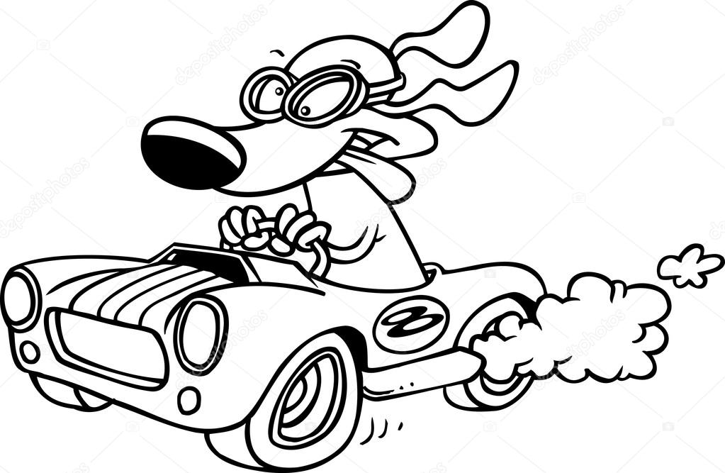 1023x667 Cartoon Pig Racing A Hot Rod Black And White Outline Stock