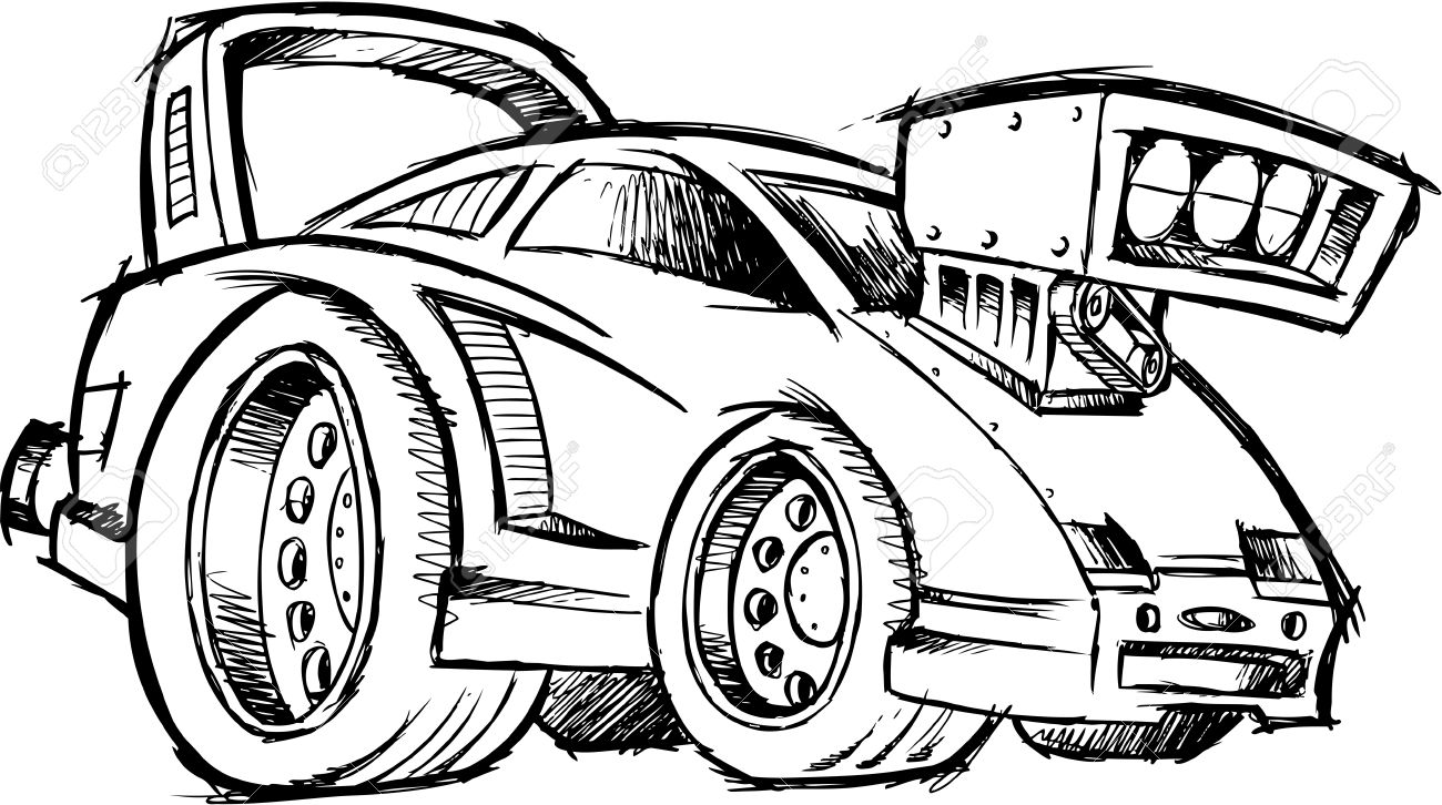1300x726 Doodle Sketchy Hot Rod Race Car Vector Illustration Royalty Free