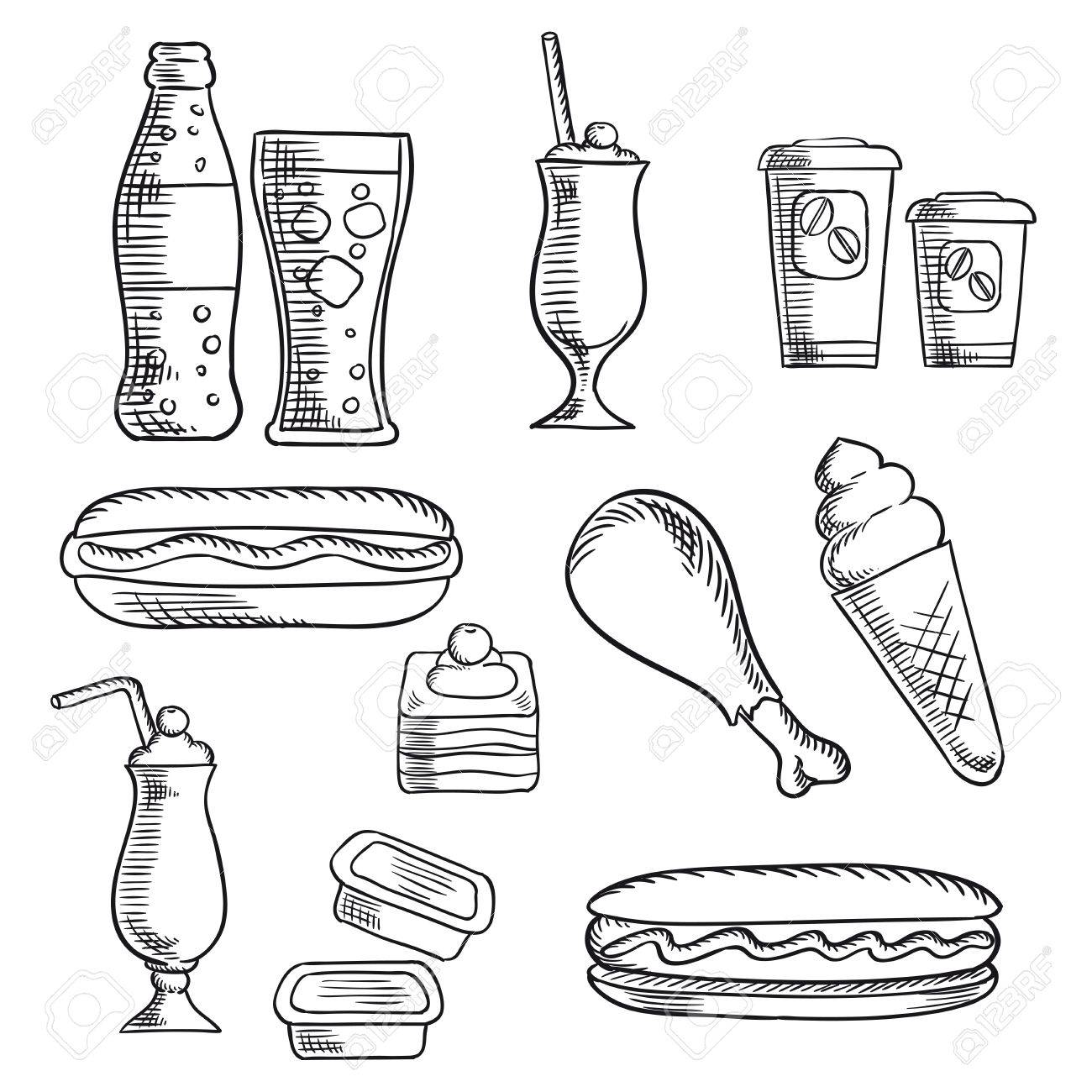 1300x1300 Fast Food Isolated Sketch Icons Of Hot Dogs, Soda, Chicken Leg